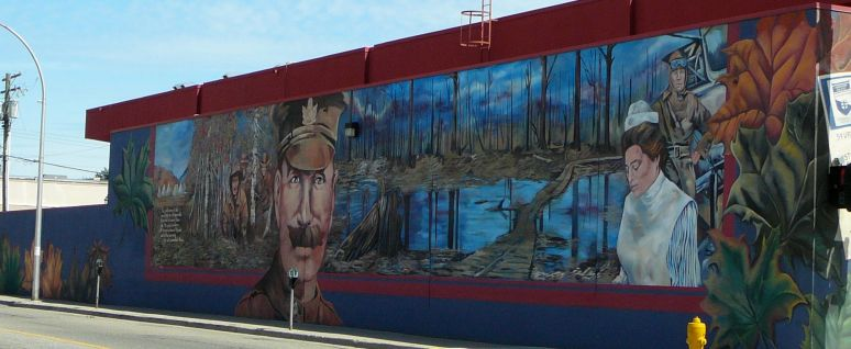 World Wars Mural - 3203 - 32nd St. Vernon, BC -  West Wall (2001) by Michelle Loughery & company of artists